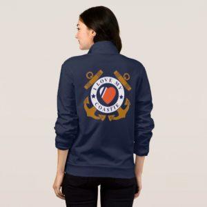 Image: Love My Coastie Crossed Anchor Back Jacket (back)