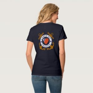 Image: Love My Coastie Crossed Anchor Back V-Neck T-Shirt (back)