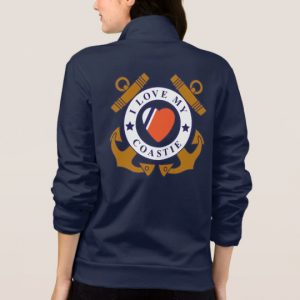 Image: Love My Coastie Crossed Anchor Back Jacket back (alt)