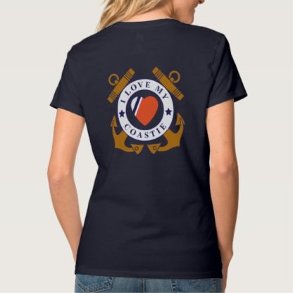 Image: Love My Coastie Crossed Anchor Back V-Neck T-Shirt back (alt)